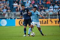 Kansas City, KS - Wednesday August 9, 2017: Valeri Qazaishvili, Benny Feilhaber during a Lamar Hunt U.S. Open Cup Semifinal match between Sporting Kansas City and the San Jose Earthquakes at Children's Mercy Park.
