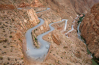 Dades Gorge, Morocco.  Hairpin Turns on Road Rising to Exit the Gorge.