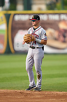 Quad Cities River Bandits second baseman Michael Massey (4) during a game against the South Bend Cubs on August 20, 2021 at Four Winds Field in South Bend, Indiana.  (Mike Janes/Four Seam Images)