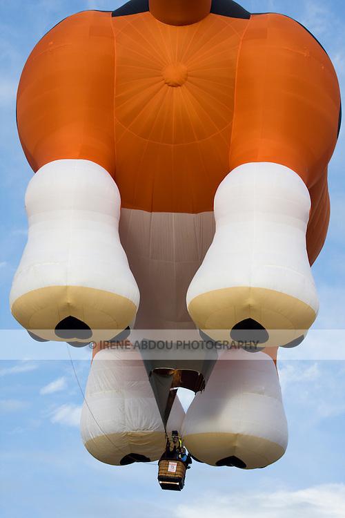 Hot air balloons like this giant dog balloon dot the skies at the 2008 Shenandoah Valley Hot Air Balloon Festival at Historic Long Branch in Millwood, Virginia.