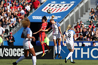 Cary, NC - Sunday October 22, 2017: Abby Dahlkemper and Lee Geummin during an International friendly match between the Women's National teams of the United States (USA) and South Korea (KOR) at Sahlen's Stadium at WakeMed Soccer Park. The U.S. won the game 6-0.