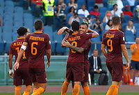 Calcio, Serie A: Roma vs Udinese. Roma, stadio Olimpico, 20 agosto 2016.<br /> Roma's Diego Perotti, center, celebrates with teammates after scoring on a penalty kick during the Italian Serie A football match between Roma and Udinese at Rome's Olympic stadium, 20 August 2016. Roma won 4-0.<br /> UPDATE IMAGES PRESS/Riccardo De Luca
