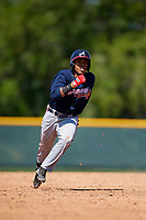 Atlanta Braves Luis Mejia (23) during a minor league Spring Training game against the Pittsburgh Pirates on March 13, 2018 at Pirate City in Bradenton, Florida.  (Mike Janes/Four Seam Images)