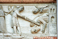 Detail of relief sculptures of the North Portal of the Romanesque Baptistery of Parma, circa 1196, (Battistero di Parma), Italy
