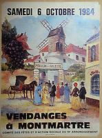Europe/France/Ile-de-France/Paris: Montmartre - Affiche des vendanges