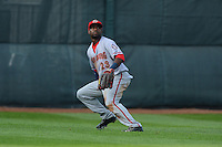 Harrisburg Senators outfielder Brian Goodwin #23 tracks down a fly ball during a game against the Erie Seawolves on July 2, 2013 at Jerry Uht Park in Erie, Pennsylvania.  Erie defeated Harrisburg 2-1.  (Mike Janes/Four Seam Images)