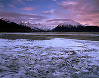 USA, Alaska, Haines, Amazing ice feathers along a frozen channel of the Chilkat River with morning clouds over the mountains