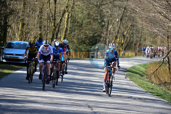 The breakaway during Liege-Bastogne-Liege Femmes 2021, running 141km from Bastogne to Liege, Belgium. 25th April 2021.  <br /> Picture: A.S.O./Gautier Demouveaux   Cyclefile<br /> <br /> All photos usage must carry mandatory copyright credit (© Cyclefile   A.S.O./Gautier Demouveaux)