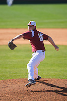 Winthrop Eagles relief pitcher Joey Strain (18) in action against the Kennesaw State Owls at the Winthrop Ballpark on March 15, 2015 in Rock Hill, South Carolina.  The Eagles defeated the Owls 11-4.  (Brian Westerholt/Four Seam Images)