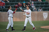 STANFORD, CA - MAY 27: Brock Jones, Kody Huff during a game between Oregon State University and Stanford Baseball at Sunken Diamond on May 27, 2021 in Stanford, California.