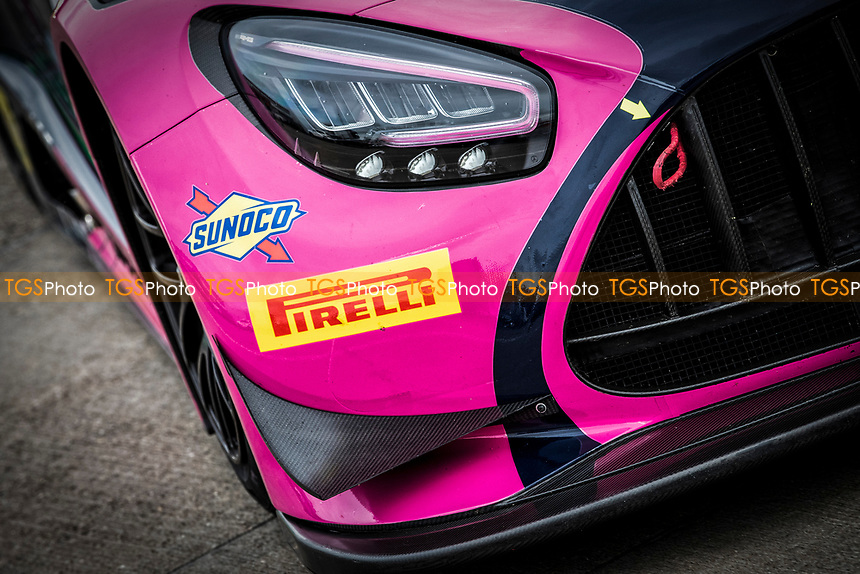 A close up of the front of Ian Loggie & Yelmer Buurman, Mercedes AMG GT3, RAM Racing vehicle during the British GT & F3 Championship on 10th July 2021