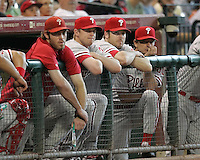 Phillies Jayson Werth, Kyle Kendrick, Adam Eaton, and Jamie Moyer watch on Sunday May 25th at Minute Maid Park in Houston, Texas. Photo by Andrew Woolley / Baseball America.