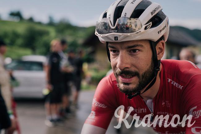 Julien Bernard (FRA/Trek-Segafredo) after finishing this wet stage<br /> <br /> Stage 3: Oberstammheim > Gansingen (182km)<br /> 82nd Tour de Suisse 2018 (2.UWT)