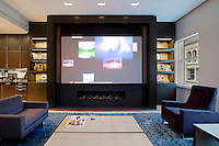 Living room with projection screen