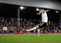 21st September 2021; Craven Cottage, Fulham, London, England; EFL Cup Football Fulham versus Leeds; Alfie Mawson of Fulham taking a penalty during the penalty shootout