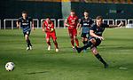 11.01.2020 Rangers v Lokomotiv Tashkent, Sevens Stadium, Dubai:<br /> Greg Stewart scores goal no 5 from the penalty spot