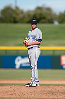 Peoria Javelinas relief pitcher Blake Rogers (55), of the San Diego Padres organization, gets ready to deliver a pitch during an Arizona Fall League game against the Mesa Solar Sox at Sloan Park on October 24, 2018 in Mesa, Arizona. Mesa defeated Peoria 4-3. (Zachary Lucy/Four Seam Images)