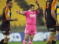 Referee Lourens van der Merwe awards a scrum during the Super Rugby match between the Hurricanes and Chiefs at Westpac Stadium, Wellington, New Zealand on Friday, 17 May 2013. Photo: Dave Lintott / lintottphoto.co.nz