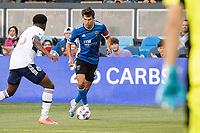 SAN JOSE, CA - AUGUST 13: Shea Salinas #6 of the San Jose Earthquakes dribbles the ball during a game between San Jose Earthquakes and Vancouver Whitecaps at PayPal Park on August 13, 2021 in San Jose, California.