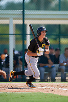 Pittsburgh Pirates shortstop Cole Tucker (3) follows through on a swing during a Florida Instructional League game against the Detroit Tigers on October 2, 2018 at the Pirate City in Bradenton, Florida.  (Mike Janes/Four Seam Images)