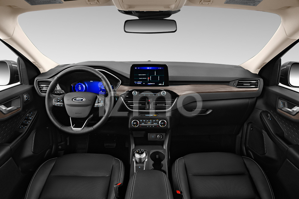 Stock photo of straight dashboard view of 2020 Ford Escape Titanium 5 Door SUV Dashboard