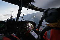 Air operations with a Westland Lynx helicopter.Coastguard vessel KV Svalbard patrols the northermost waters of Norway, including around the islands that she is named after. The main task is inspecting fishing boats, but she also performs search and rescue missions, and environmental monitoring. © Fredrik Naumann