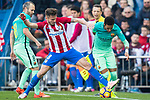 Neymar da Silva Santos Junior (r) of FC Barcelona battles for the ball with Saul Niguez Esclapez of Atletico de Madrid in action during their La Liga match between Atletico de Madrid and FC Barcelona at the Santiago Bernabeu Stadium on 26 February 2017 in Madrid, Spain. Photo by Diego Gonzalez Souto / Power Sport Images