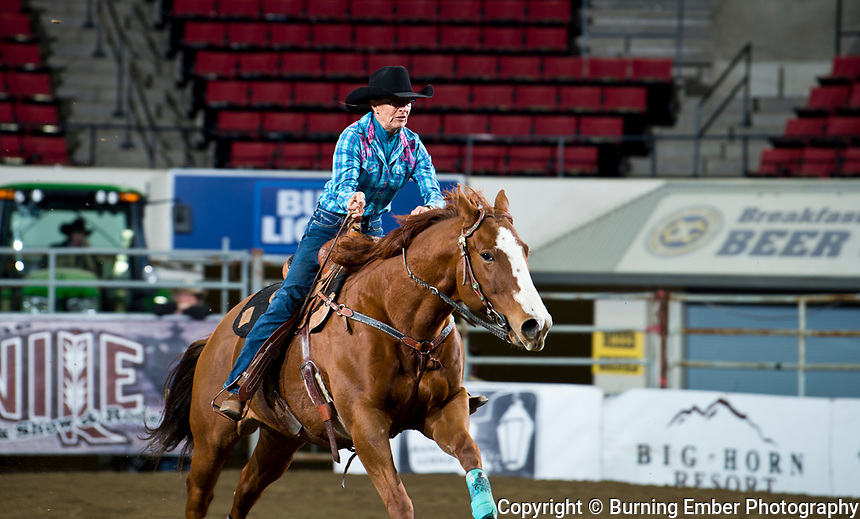 Gayleen Malone in the Barrel Racing event with a 14.32 run at the NILE PRCA Slack Event. October 17th, 2018.  Photo by Josh Homer/Burning Ember Photography.  Photo credit must be given on all uses.