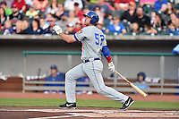 Chattanooga Lookouts first baseman DJ Hicks (52) swings at a pitch during a game against the Tennessee Smokies on April 25, 2015 in Kodak, Tennessee. The Smokies defeated the Lookouts 16-10. (Tony Farlow/Four Seam Images)