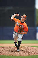 Pitcher Tony Locey (28) of Houston County High School in Columbus, Georgia playing for the Baltimore Orioles scout team during the East Coast Pro Showcase on July 28, 2015 at George M. Steinbrenner Field in Tampa, Florida.  (Mike Janes/Four Seam Images)