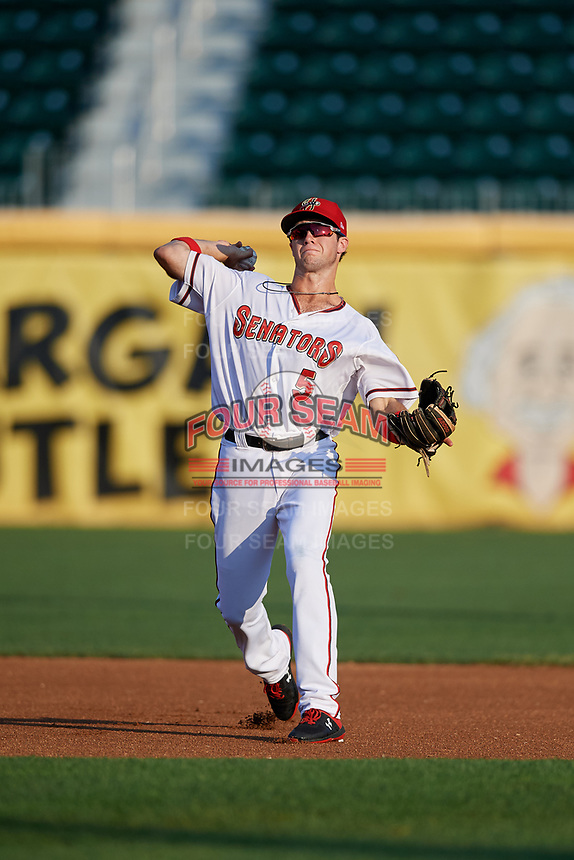 Harrisburg Senators shortstop Carter Kieboom (5) throws to first base during a game against the Erie SeaWolves on August 29, 2018 at FNB Field in Harrisburg, Pennsylvania.  Harrisburg defeated Erie 5-4.  (Mike Janes/Four Seam Images)