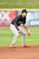 Birmingham Barons shortstop Laz Rivera (5) awaits the play during a game against the Tennessee Smokies at Smokies Stadium on May 15, 2019 in Kodak, Tennessee. The Smokies defeated the Barons 7-3. (Tony Farlow/Four Seam Images)