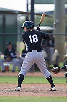 Chicago White Sox third baseman Jake Burger (18) at bat during an Instructional League game against the San Diego Padres on September 26, 2017 at Camelback Ranch in Glendale, Arizona. (Zachary Lucy/Four Seam Images)
