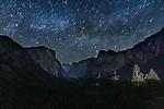 USA, California, Yosemite National Park , Yosemite Valley by night with climbers' lights on El Capitan