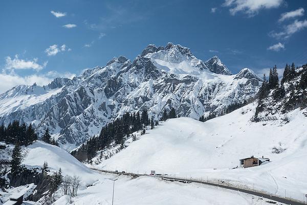 Flexenspitze while skiing to Stuben Ski Area, Austria,