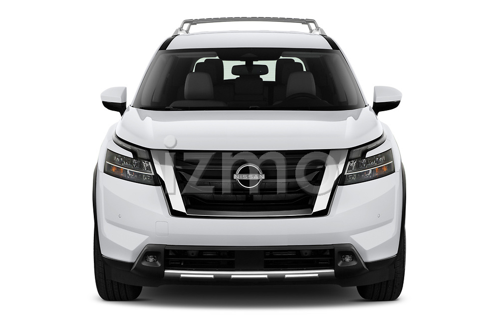 Car photography straight front view of a 2022 Nissan Pathfinder SL 5 Door SUV Front View