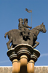 Statue of Knights Templar outside Temple Church Inns of Court London Uk