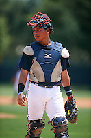 GCL Braves catcher William Contreras (20) during a game against the GCL Blue Jays on August 5, 2016 at ESPN Wide World of Sports in Orlando, Florida.  GCL Braves defeated the GCL Blue Jays 9-0.  (Mike Janes/Four Seam Images)