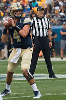 Pitt quarterback Max Browne. The Pitt Panthers defeated the Youngstown State Penguins 28-21 in overtime at Heinz Field, Pittsburgh, Pennsylvania on September 02, 2017.