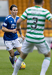 St Johnstone v Celtic…04.10.20   McDiarmid Park  SPFL<br />Danny McNamara is closed down by Greg Taylor<br />Picture by Graeme Hart.<br />Copyright Perthshire Picture Agency<br />Tel: 01738 623350  Mobile: 07990 594431