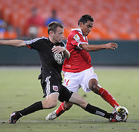DC United midfielder Ely Allen (20)  against Toluca FC defender Manuel Cruzalta (24)  ,Toluca FC defeated DC United 3-1in the Concacaf Champions League tournament,at RFK Stadium Wednesday, August 26  2009.