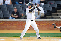 Nate Mondou (10) of the Wake Forest Demon Deacons at bat against the Maryland Terrapins at Wake Forest Baseball Park on April 4, 2014 in Winston-Salem, North Carolina.  The Demon Deacons defeated the Terrapins 6-4.  (Brian Westerholt/Four Seam Images)