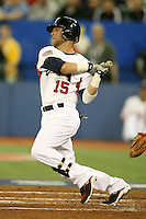 March 7, 2009:  Second baseman Dustin Pedroia (15) of Team USA during the first round of the World Baseball Classic at the Rogers Centre in Toronto, Ontario, Canada.  Team USA defeated Canada 6-5 in both teams opening game of the tournament.  Photo by:  Mike Janes/Four Seam Images