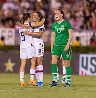 PASADENA, CA - AUGUST 4: Kelley O'Hara #5 and Carli Lloyd #10 celebrate during a game between Ireland and USWNT at Rose Bowl on August 3, 2019 in Pasadena, California.