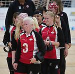 Toronto 2015 - Goalball.<br /> Canada's women's Goalball team celebrates after winning the bronze medal // L'équipe féminine de goalball du Canada célèbre après avoir remporté la médaille de bronze. 14/08/2015.