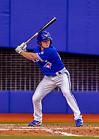 26 March 2018: Toronto Blue Jays infielder Andrew Guillotte in action during an exhibition game against the St. Louis Cardinals at Olympic Stadium in Montreal, Quebec, Canada. The Cardinals defeated the Blue Jays 5-3 in the first of two MLB pre-season games in the former home of the Montreal Expos. Mandatory Credit: Ed Wolfstein Photo *** RAW (NEF) Image File Available ***