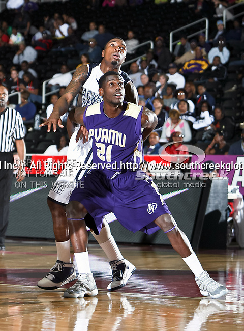 Prairie View A & M Panthers forward Michael Webb (21) in action during the SWAC Tournament game between the Prairie View A & M Panthers and the Jackson State Tigers at the Special Events Center in Garland, Texas. Jackson State defeats Prairie View A & M 50 to 38.