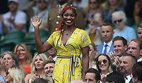 England netball captain Ama Agbeze is introduced to the Centre Court crowd <br /> <br /> Photographer Rob Newell/CameraSport<br /> <br /> Wimbledon Lawn Tennis Championships - Day 6 - Saturday 6th July 2019 -  All England Lawn Tennis and Croquet Club - Wimbledon - London - England<br /> <br /> World Copyright © 2019 CameraSport. All rights reserved. 43 Linden Ave. Countesthorpe. Leicester. England. LE8 5PG - Tel: +44 (0) 116 277 4147 - admin@camerasport.com - www.camerasport.com