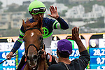 """DEL MAR, CA. AUGUST 26:#10 Giant Expectations ridden by Gary Stevens, get a high five after winning the  Pat O'Brien Stakes (Grade ll), Breeders' Cup """"Win and You're in Dirt Mile Division"""" on August 26, 2017, at Del Mar Thoroughbred Club in Del Mar, CA.(Photo by Casey Phillips/Eclipse Sportswire/Getty )"""
