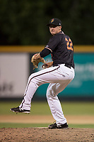 Modesto Nuts relief pitcher Michael Koval (22) prepares to deliver a pitch during a California League game against the Lake Elsinore Storm at John Thurman Field on May 11, 2018 in Modesto, California. Modesto defeated Lake Elsinore 3-1. (Zachary Lucy/Four Seam Images)